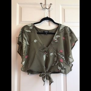 EXPRESS Floral Chiffon Tie Front Crop Top